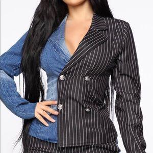 Both Ways Striped Blazer Set - Black/Blue